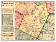 Acton Poster Map, 1856 Middlesex Co. MA