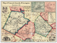 Concord, Lincoln, & Lexington Poster Map, 1856 Middlesex Co. MA