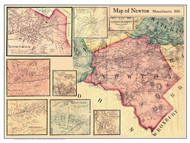Newton Poster Map, 1856 Middlesex Co. MA