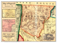 Pepperell Poster Map, 1856 Middlesex Co. MA