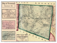 Townsend Poster Map, 1856 Middlesex Co. MA