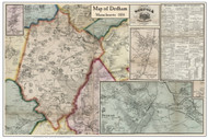 Dedham Poster Map, 1858 Norfolk Co. MA