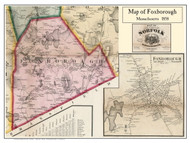 Foxborough Poster Map, 1858 Norfolk Co. MA