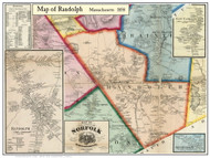 Randolph Poster Map, 1858 Norfolk Co. MA