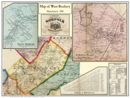 West Roxbury Poster Map, 1858 Norfolk Co. MA