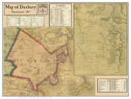 Duxbury Poster Map, 1857 Plymouth Co. MA