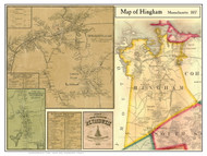 Hingham Poster Map, 1857 Plymouth Co. MA