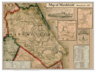 Marshfield Poster Map, 1857 Plymouth Co. MA