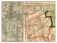 North Bridgewater Poster Map, 1857 Plymouth Co. MA