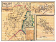 Athol Poster Map, 1857 Worcester Co. MA