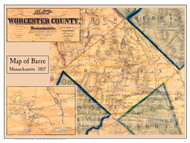 Barre Poster Map, 1857 Worcester Co. MA