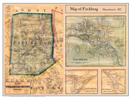 Fitchburgh Poster Map, 1857 Worcester Co. MA