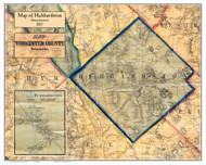 Hubbardston Poster Map, 1857 Worcester Co. MA