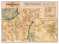 Leominster Poster Map, 1857 Worcester Co. MA