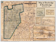Sturbridge Poster Map, 1857 Worcester Co. MA