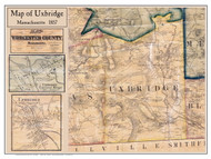 Uxbridge Poster Map, 1857 Worcester Co. MA
