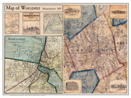 Worcester Poster Map, 1857 Worcester Co. MA
