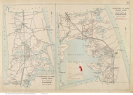 Towns of Eastham & Wellfleet, Massachusetts 1910 Old Town Map Reprint - Barnstable Co.
