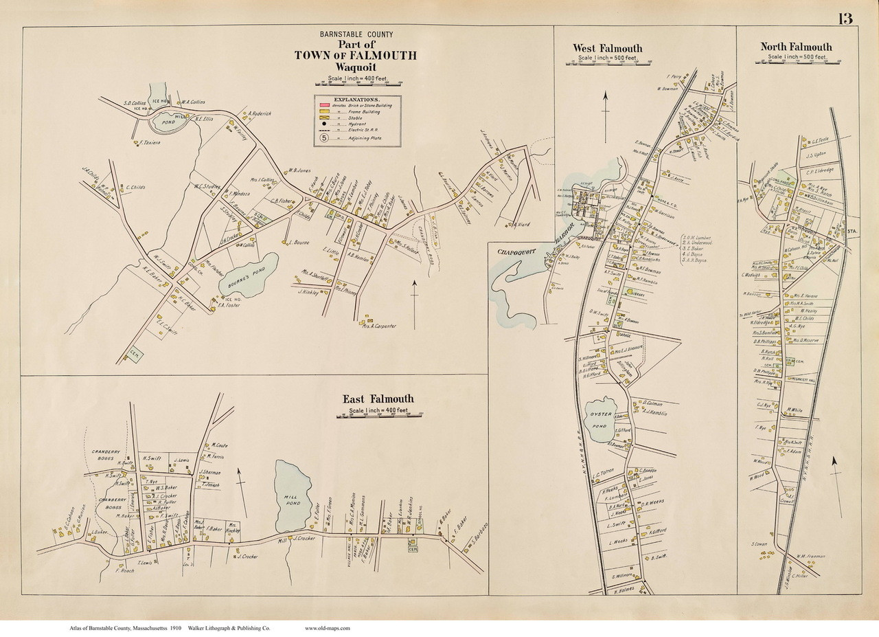 FALMOUTH Massachusetts 1910 WOODS HOLE