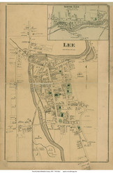 Lee Village & South Lee, Massachusetts 1876 Old Town Map Reprint - Berkshire Co.