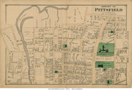 Northern Section of Pittsfield City, Massachusetts 1876 Old Town Map Reprint - Berkshire Co.