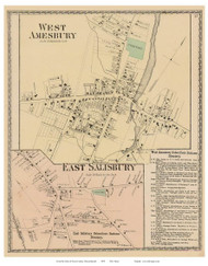 West Amesbury, East Salisbury, Massachusetts 1872 Old Town Map Reprint - Essex Co.