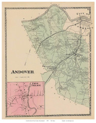 Andover, Frye Village, Massachusetts 1872 Old Town Map Reprint - Essex Co.