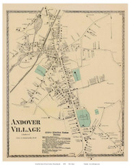 Andover Village, Massachusetts 1872 Old Town Map Reprint - Essex Co.