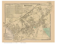 Beverly, Massachusetts 1872 Old Town Map Reprint - Essex Co.