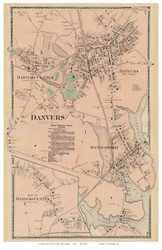 Danvers, Danvers Center, Massachusetts 1872 Old Town Map Reprint - Essex Co.