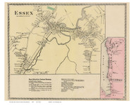 Essex Village, Riverdale, Massachusetts 1872 Old Town Map Reprint - Essex Co.