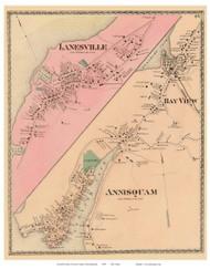 Lanesville, Annisquam, Bay View - Gloucester, Massachusetts 1872 Old Town Map Reprint - Essex Co.