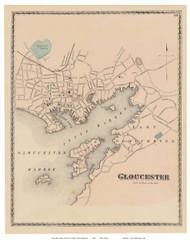 Gloucester Village, Massachusetts 1872 Old Town Map Reprint - Essex Co.