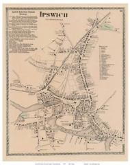 Ipswich Village, Massachusetts 1872 Old Town Map Reprint - Essex Co.