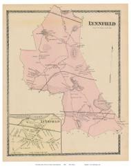 Lynnfield, Lynnfield Village, Massachusetts 1872 Old Town Map Reprint - Essex Co.