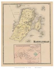 Marblehead, Lynnfield Center, Massachusetts 1872 Old Town Map Reprint - Essex Co.