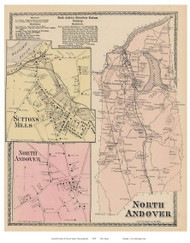 North Andover, No. Andover Village, Suttons Mills, Massachusetts 1872 Old Town Map Reprint - Essex Co.