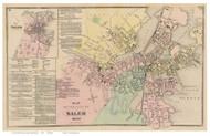 Salem, Massachusetts 1872 Old Town Map Reprint - Essex Co.