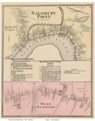 Salisbury Point, Amesbury Ferry, West Newbury Village, Massachusetts 1872 Old Town Map Reprint - Essex Co.