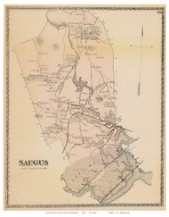Saugus, Massachusetts 1872 Old Town Map Reprint - Essex Co.