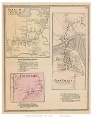 Saugus Center, Cliftondale, East Saugus, Massachusetts 1872 Old Town Map Reprint - Essex Co.