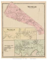 Wenham, Wenham Village, Cove Village, Massachusetts 1872 Old Town Map Reprint - Essex Co.
