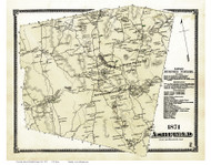 Ashfield, Massachusetts 1871 Old Town Map Reprint - Franklin Co.