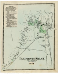 Bernardston Village, Massachusetts 1871 Old Town Map Reprint - Franklin Co.