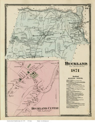 Buckland & Buckland Centre, Massachusetts 1871 Old Town Map Reprint - Franklin Co.