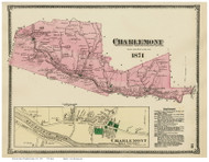 Charlemont & Charlemont Village, Massachusetts 1871 Old Town Map Reprint - Franklin Co.