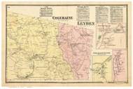 Coleraine and Leyden, Massachusetts 1871 Old Town Map Reprint - Franklin Co.