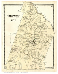 Conway, Massachusetts 1871 Old Town Map Reprint - Franklin Co.