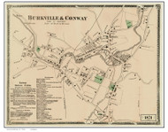 Burkville & Conway Village, Massachusetts 1871 Old Town Map Reprint - Franklin Co.