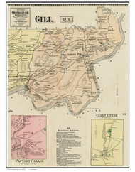 Gill, Factory Village & Gill Centre, Massachusetts 1871 Old Town Map Reprint - Franklin Co.